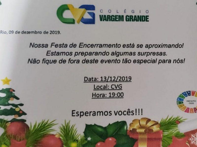 FESTA DE ENCERRAMENTO DO ANO LETIVO DE 2019